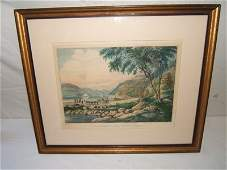 """270: Antique Currier and Ives Colored Lithograph """"West"""