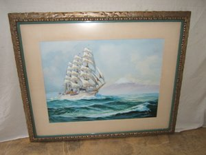 332: Maritime Ship Painting by Mitchell