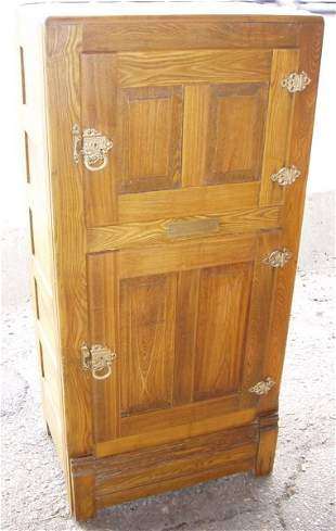 Antique Ash Ice Box with Brass Hardware