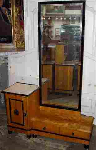 Antique Satin Wood Vanity Bevel Mirror