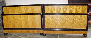 Antique Satin Wood Twin Beds