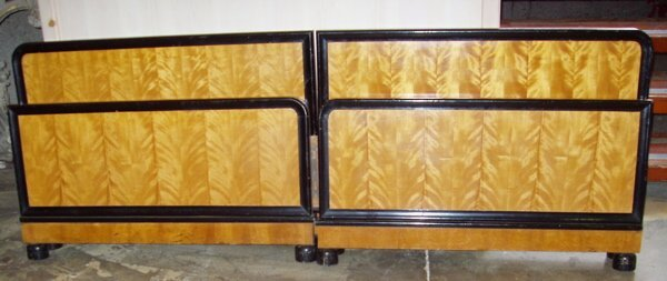 8: Antique Satin Wood Twin Beds