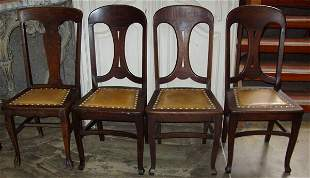 4 Upholstered Seat Oak Chairs