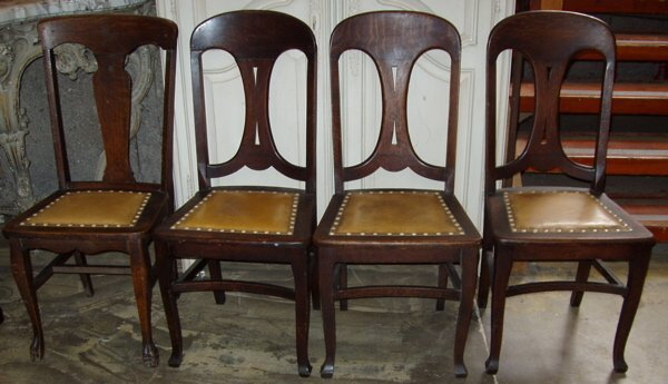 21: 4 Upholstered Seat Oak Chairs