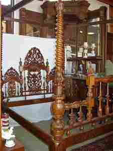 131: 19th Century India Carved Canopy English Style