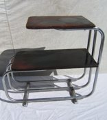3: Antique Deco Chrome and Wood Table