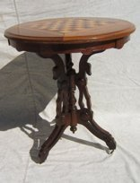 4: Antique Victorian Parlor Table with Game Top