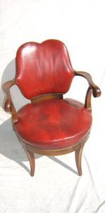 6: Antique Swivel Desk Chair with Leather Mahogany