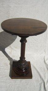 7: Antique Oak Pedestal Table Heavily Carved