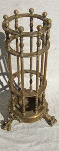 14: Antique Brass Claw Footed Umbrella & Cane Stand
