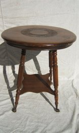 15: Antique Crystal Claw Footed Carved Parlor Table