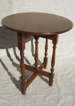 19: Antique Oak Folding Round Table