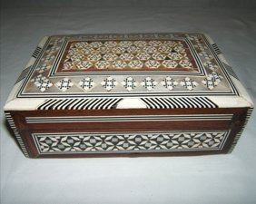 117: Marquetry Inlay Mother of Pearl Jewelry Box