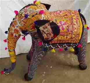 India Mirror Cloth Elephant Rustic-Primitive