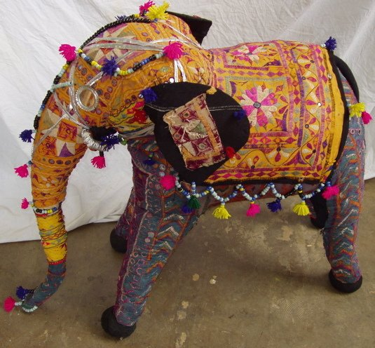 203: India Mirror Cloth Elephant Rustic-Primitive