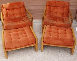 2 Retro Arm Chairs with Ottomans