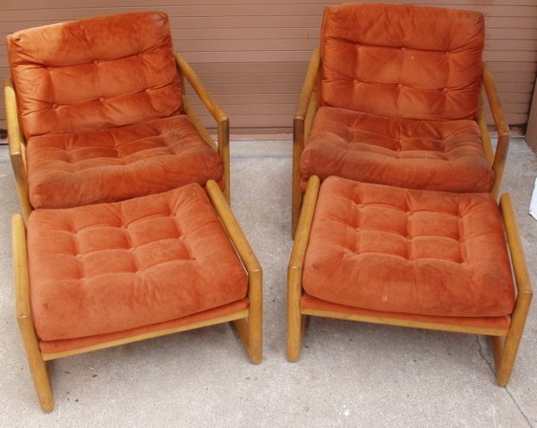 208: 2 Retro Arm Chairs with Ottomans