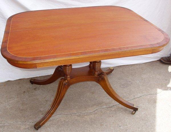 211: Marquetry Inlay Mahogany Table