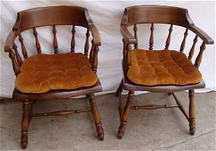 "2 Signed ""Davis & Shaw"" Oak Pub Chairs"