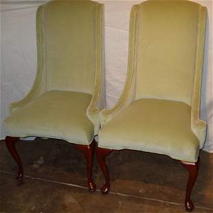 2 Queen Ann Style Wing Back Chairs