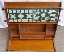 223: Antique Teacher School House Learning Oak Table