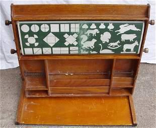 Antique Teacher School House Learning Oak Table