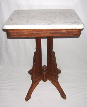 306: Antique Victorian Marble Top Parlor Table