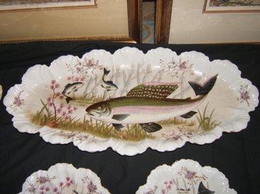 315: Antique European China Fish Set Marx & Gutherz Car