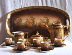 323: Antique Dematasse Coffee Set 16 Piece Czecho-Slowa