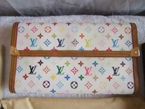 154: Louis Vuitton White Multi Color Wallet