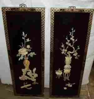 Stone Inlay Oriental Black Lacquered Plaques