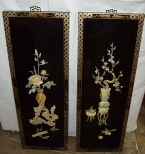 402: Stone Inlay Oriental Black Lacquered Plaques