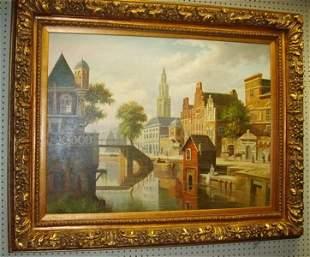 European Scene Oil Painting Signed Becker