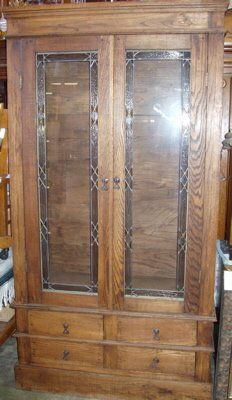 Leaded Glass Oak China Cabinet