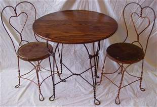 Antique Ice Cream Oak Table with 2 Chairs