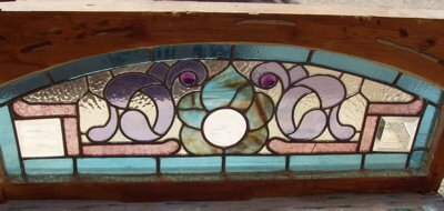 411: Antique Stain Leaded Glass Window