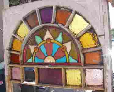 Antique Arch Style Stain Leaded Glass Window