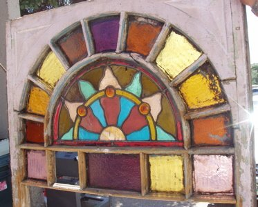 412: Antique Arch Style Stain Leaded Glass Window