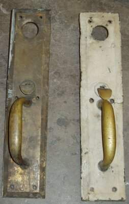2 Antique Brass Door Front Handles