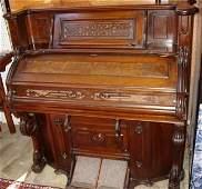510: Victorian Burl Walnut Pump Organ