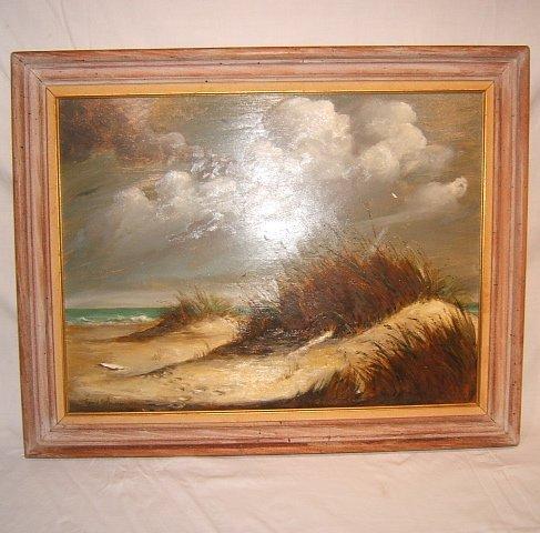7: Oil Painting, Contemporary Beach Dunes Scene