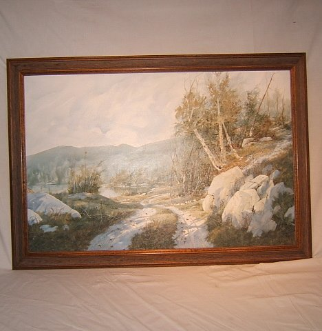 """9: Oil Canvas, Road and Lake Scene by G.C. """"Sonny"""" Stew"""