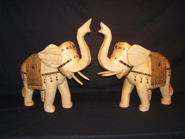 17: 2 Asian Style Bone Elephants