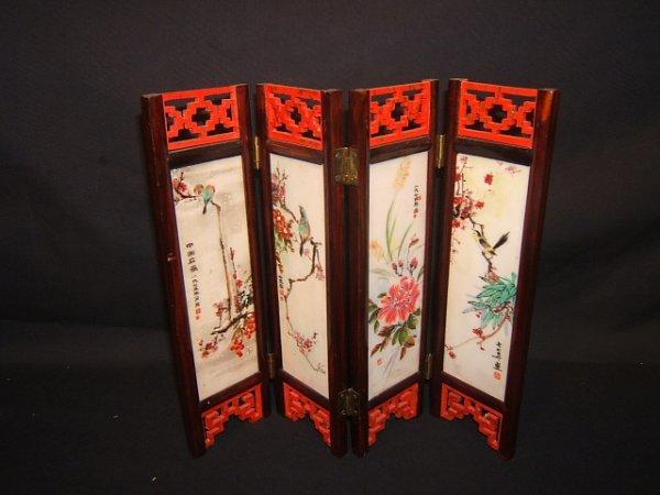 18: Asian Miniature 4 Panel Marble Screen