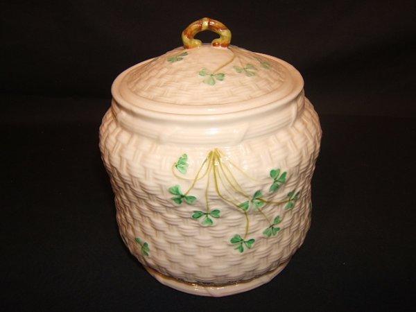 19: Irish Belleek Biscuit Jar