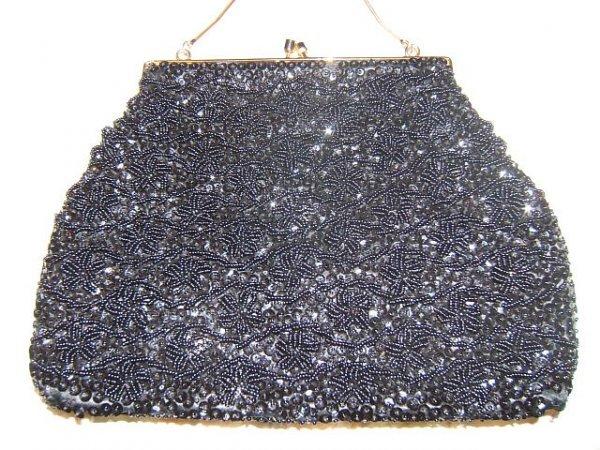 21: Vintage Beaded Purse, Black