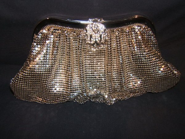 23: Whiting and Davis Antique Silver Purse with Rhinest