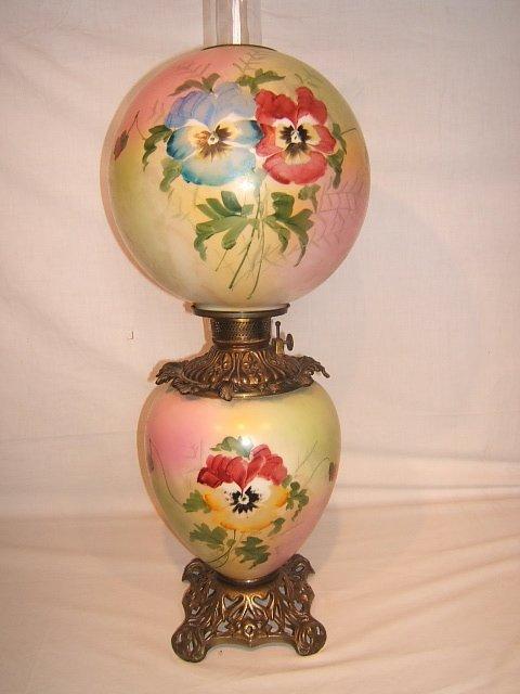 59: Antique Victorian Hurricane Lamp with Flower Design