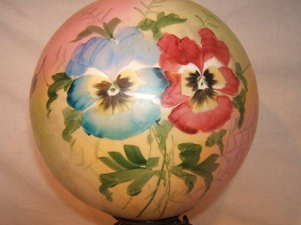 59: Antique Victorian Hurricane Lamp with Flower Design - 2