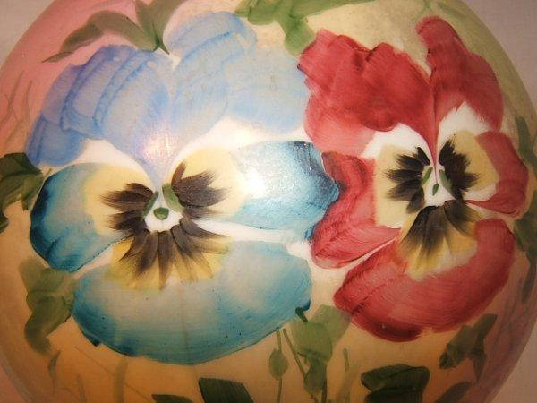 59: Antique Victorian Hurricane Lamp with Flower Design - 3